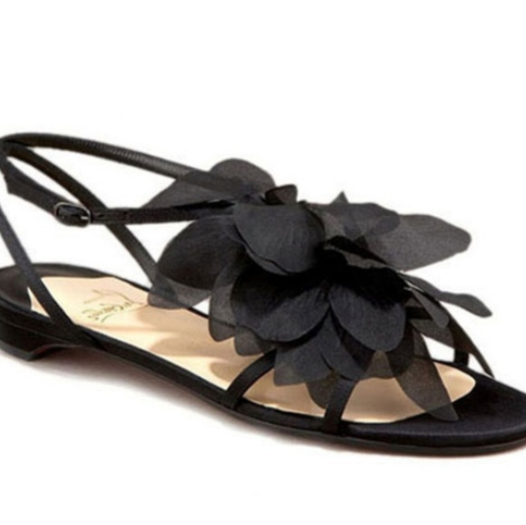 365bd107e992 Christian Louboutin Blk Crepe Satin Petal Sandals